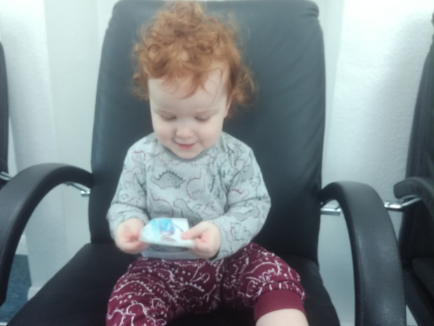 Mini at the dentist with Elsa sticker