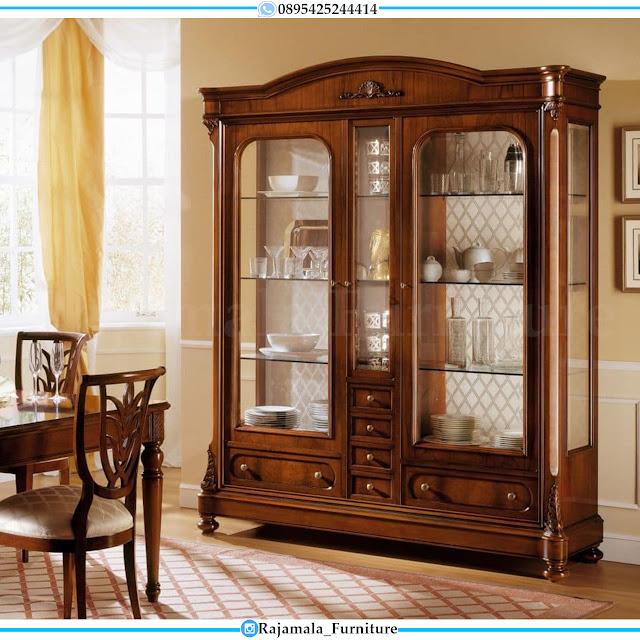 Lemari Kaca Mewah Jati Natural Luxury Salak Brown Glossy RM-0428