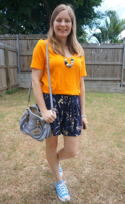 marigold orange tee with navy printed culotte shorts chloe paraty bag | awayfromblue summer mum outfit