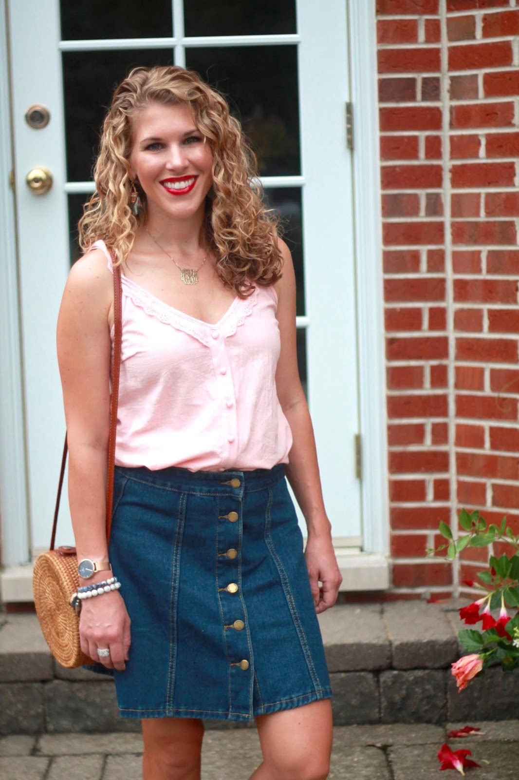 pink ruffle cami, denim button front skirt, gold toe sneakers, straw circle bag,