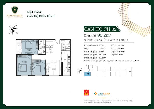 Thiết kế căn hộ 02: Diện tích 95m2