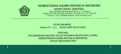 Rincian Formasi CPNS Kemenag Tahun 2019