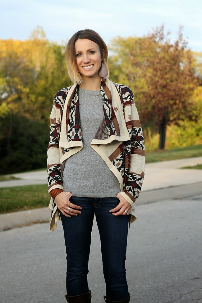 CARIBOU RIVER CARDIGAN from White Plum, gray tee and wedge boots