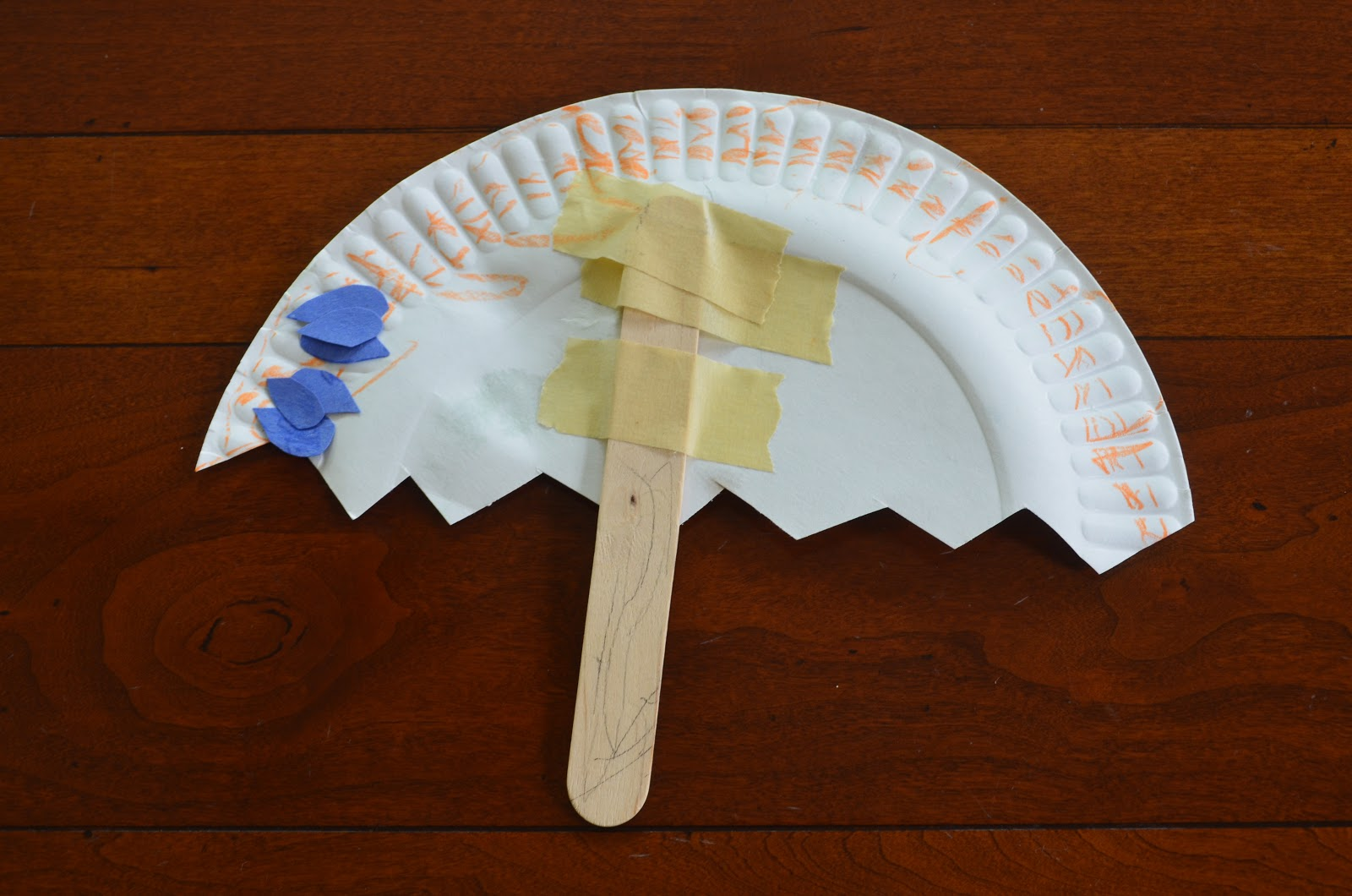 Paper Plate Umbrella For A Rainy Day