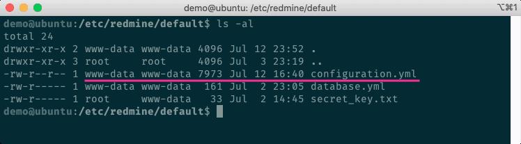 建立Redmine的Configuration檔