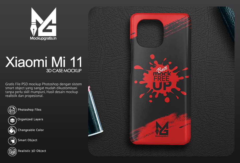Mockup Custom Case 3D Xiaomi Mi 11