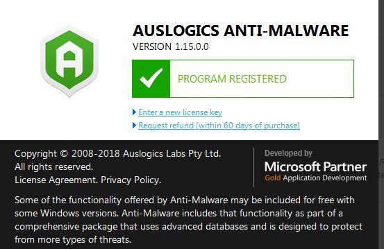 تفعيل برنامج Auslogics Anti-Malware