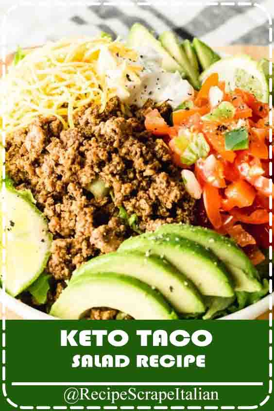 Craving tacos on the keto diet? do that simple keto taco dish for a fast nighttime dinner.  It's filled with toothsome low-carb ingredients like condiment, avocado, seasoned beef, and cut cheese. easy keto taco dish direction created with beef and cut cheese    EASY KETO TACO dish  I know you'll love this direction for a tasty and healthy keto taco dish.  Taco dish is straightforward to arrange, even on a busy nighttime.  It's created with alimentary veggies, creamy avocado, and different naturally low-carb ingredients. If you're searching for a tasty, simple direction to form once a busy day, browse on to be told a way to create this Keto Taco dish direction.  It's near to as simple as these Sheet Pan Chicken Fajitas! #ketosalad #ketorecipes