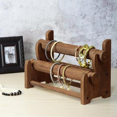 Wooden 2-Tier Bar Bracelet Bangle Jewelry Holder displaying bracelets and bangles