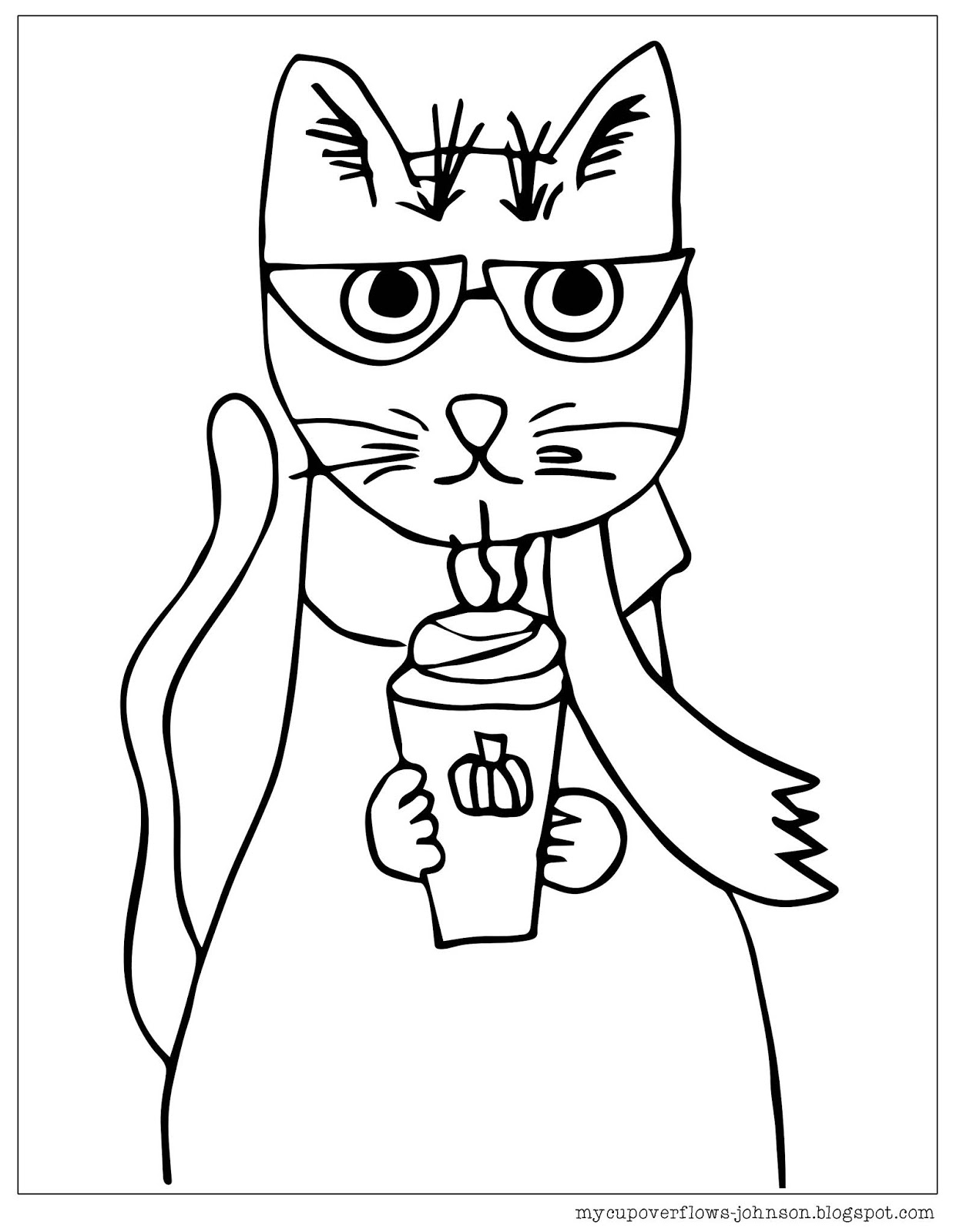 My Cup Overflows: Cat Coloring Page