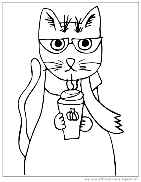 free cat coloring page with pumpkin spice drink