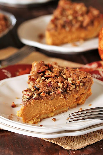 Pecan Streusel Pumpkin Pie by The Kitchen is My Playground - WEEKEND POTLUCK 455