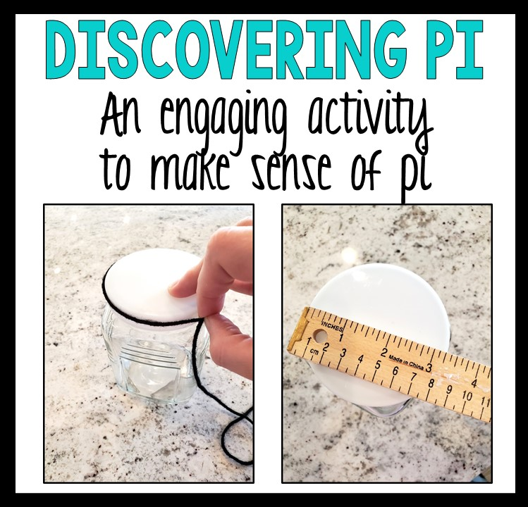 Discovering Pi an activity to make sense of pi a hand measuring a circular bottle with a black piece of yarn