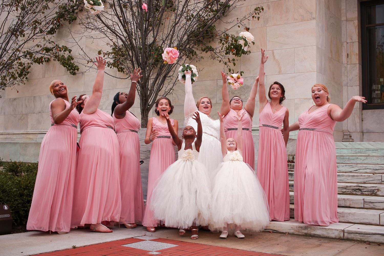 bridesmaid in pink long dress