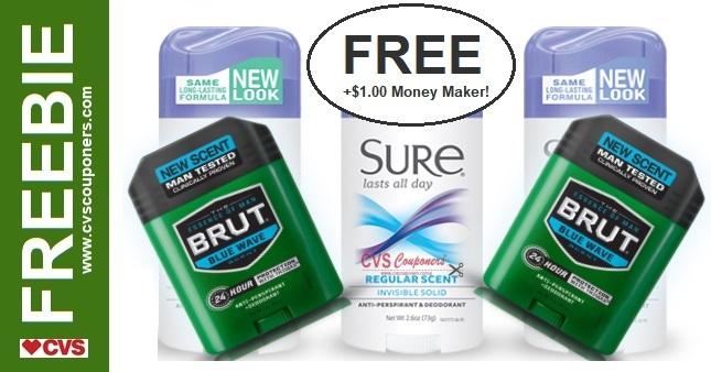 FREE Sure or Brut Deodorant CVS Deal 4-26-5-2