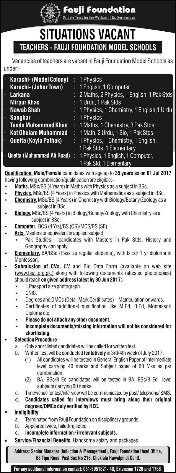 Teachers Jobs in Fauji Foundation Schools in Different Cities for All Subjects
