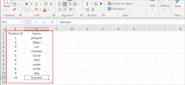 أعمدة وصفوف Excel