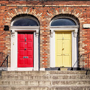 Red and yellow Dublin doors on Shelbourne Road