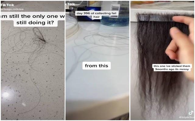 La Tikoker que Recogió el pelo que se le cayó durante un año y se hizo extensiones