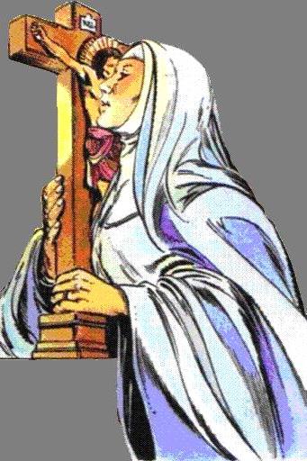 Imagen de Santa Angela de Foligno abrazando la imagen de Jesus crucificado