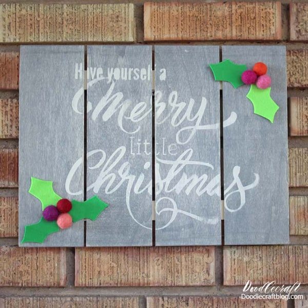 Wood Slat Sign with Felt Holly