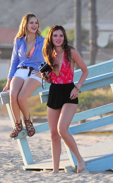 Bella Thorne in Shorts On 'You Got Me' set in Santa Monica