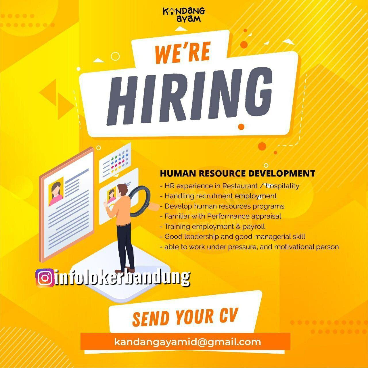 Loowngan Kerja Human Resource Development Kandang Ayam Bandung Oktober 2019