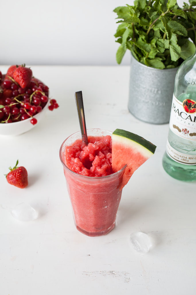 Frozen Watermelon-Strawberry Daiquiri (two ways: alcoholic and non-alcoholic)