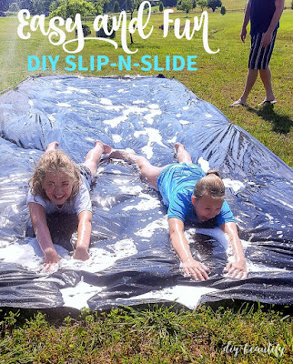 This DIY slip-n-slide is fast, inexpensive and will provide hours of fun for the kids! Details at diy beautify!