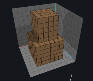 Extruding a base of voxels using the Face tool