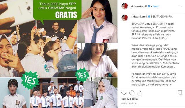Gratis SPP SMA di Jabar - IGridwankamil
