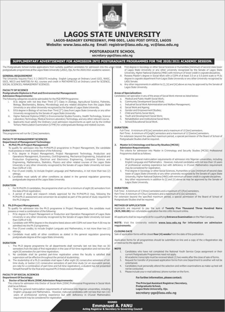 LASU PG Supplementary Admission Form 2020/2021