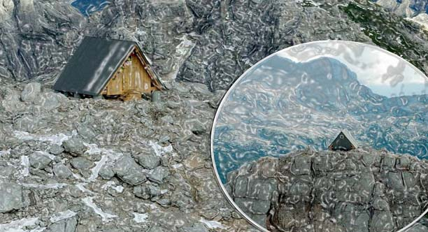 An architect Mr. Giovanni Pesamosca from Italy designed this straight-forward cabin made of wood and steel and can be acquire free of charge. It can accommodate nine people at a time.    The rescue volunteers constructed this snow resistant and tent shaped cabin in a single day with the help of a helicopter. It was created in the honor of the climber who once fell from the mountain.   The isolated Mountaintop Cabin is suspended at 8300 feet above a Foronon Buinz Mountain in Italy and shows off the views of the amazing Julian Alps peaks.
