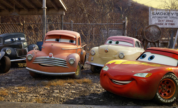 Lightning McQueen (Owen Wilson) meets Doc Hudson's former mechanic and crew chief, Smokey (Chris Cooper) in CARS 3 (2017)