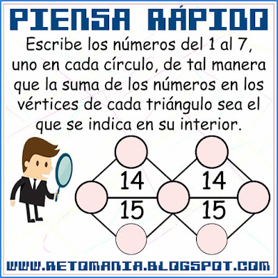 Piensa rápido, Ubica los números, Descubre los números, Retos matemáticos, Desafíos matemáticos, Problemas matemáticos, Solo para genios
