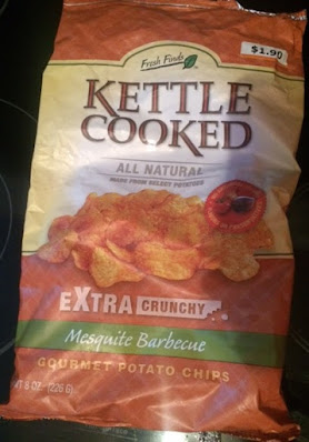 An empty bag of Fresh Finds Mesquite Barbecue Kettle Cooked Potato Chips, from Big Lots