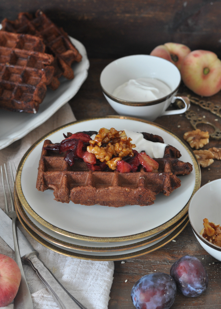 gluten free Belgian Waffels with nuts and chocolate, the perfect treat for rainy days
