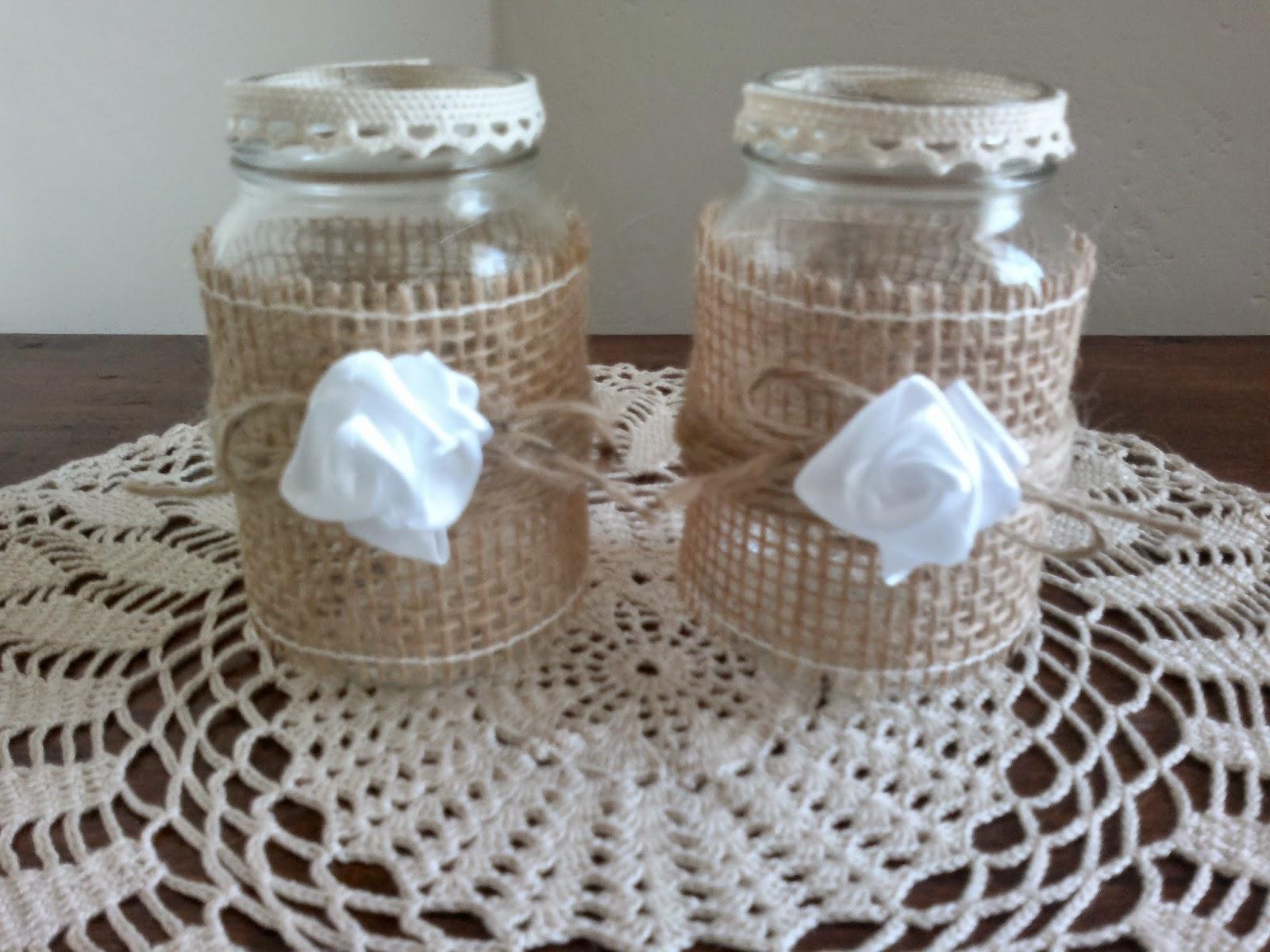 Decorazione Vasetti Vetro.L Angolo Di Flo Vasetti Di Vetro Decorati Glass Jars Decorated