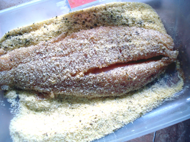 perch fillets coated with potato flakes and cheese
