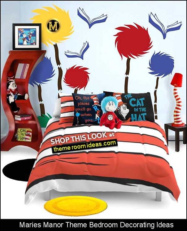 Cat in the Hat theme bedroom decorating - Dr Seuss murals - Dr Seuss decor - dr suess bedroom furniture  Thing 1 and Thing 2  Dr. Seuss Plush Toys