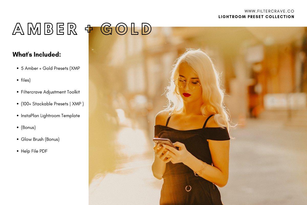 Preset Tone Màu Vàng và Hổ Phách – Amber Gold Presets (XMP)