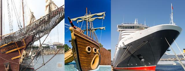 Diferentes proas de un barco