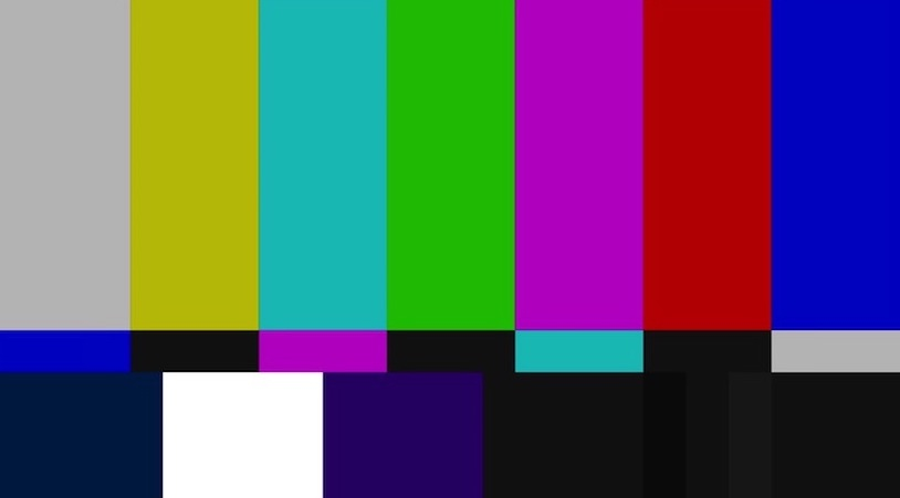 the vertical colored bars of a test pattern familiar to television viewers of a certain age