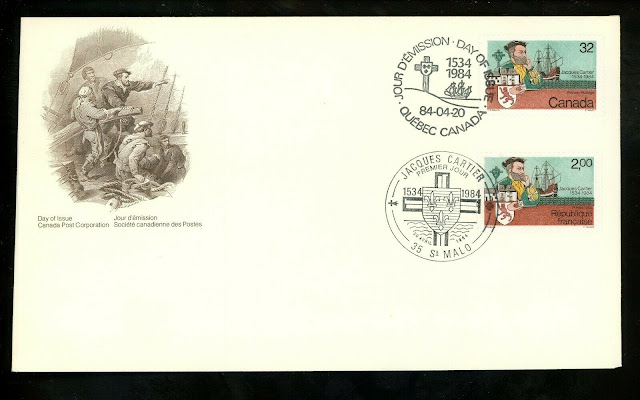 Canada #1011 FDC Jacques Cartier 1984 Dual Joint France #1923