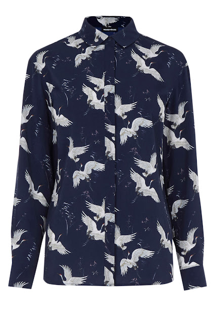 warehouse bird print blouse, geese print shirt,