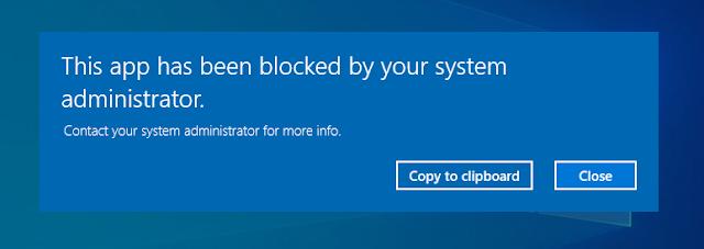 AppLocker error showing executable has been blocked from running.