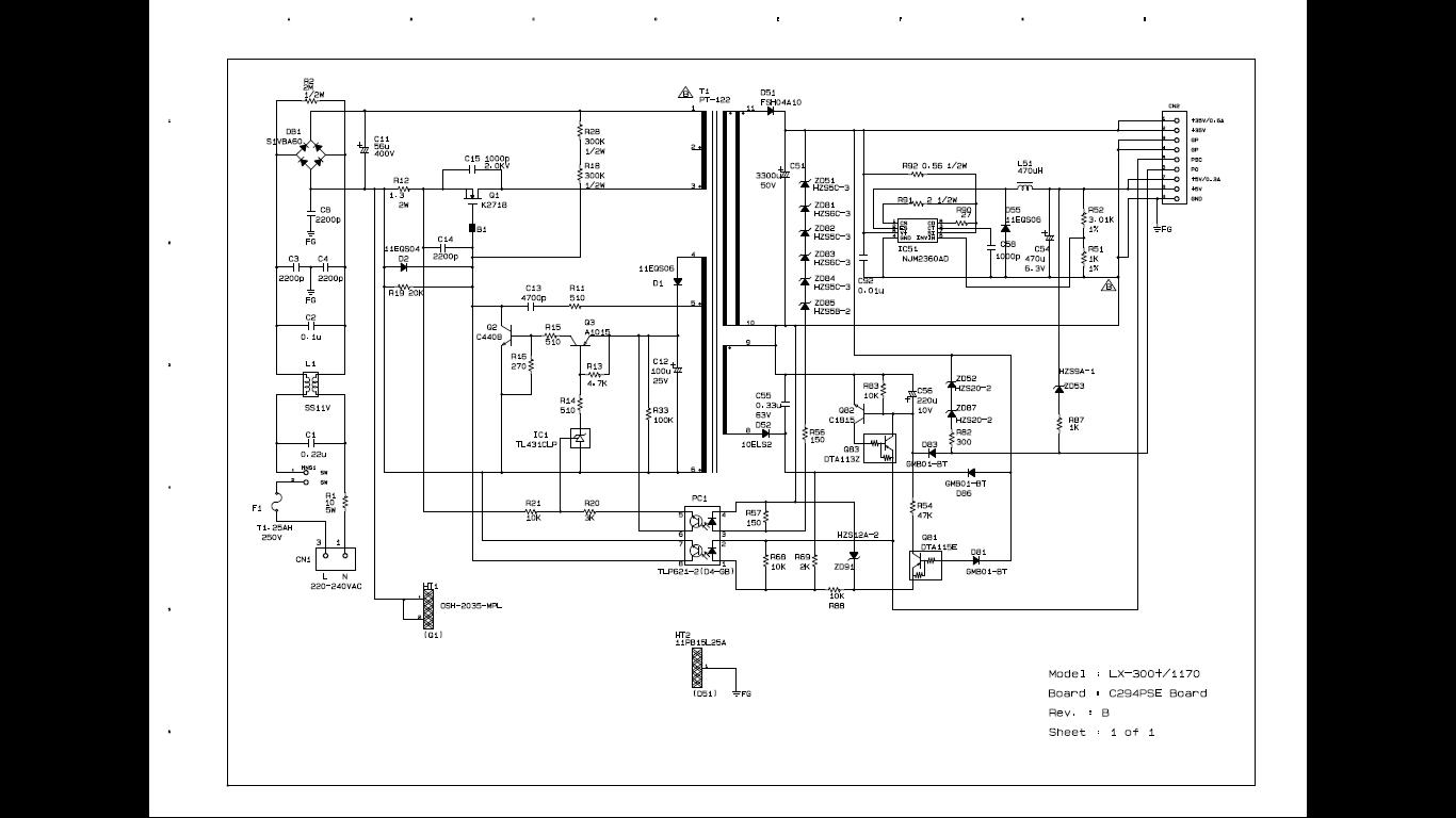 Skema Power Supply Epson LX300+ LX300+II LX1170