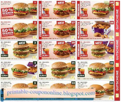 Mcdonalds Restaurant Printable Menu