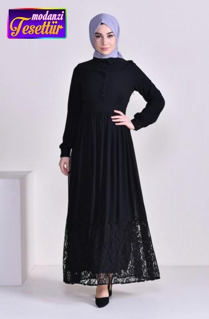 d6f392078712d Dantel Detaylı Şifon Elbise 81694-01 Siyah - sefamerve 2019 elbise modelleri