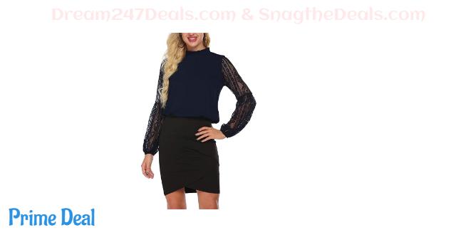 40%  off SoTeer Women's Chiffon Blouse Lace Lantern Long Sleeve High Neck Ruffle Collar Shirt Tops S-XXL